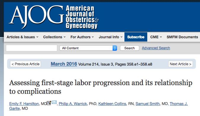 AJOG Highlights PeriGen Research on a New Labor Curve