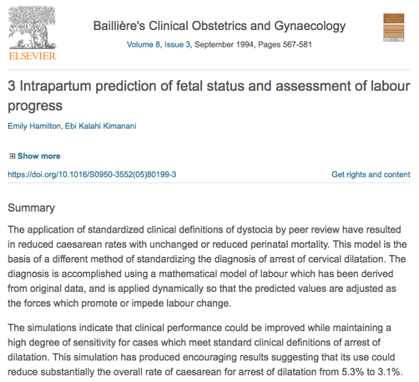 Intrapartum prediction of fetal status and assessment of labor progress