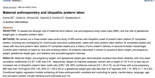 Maternal anthropmetry and idiopathic preterm labor