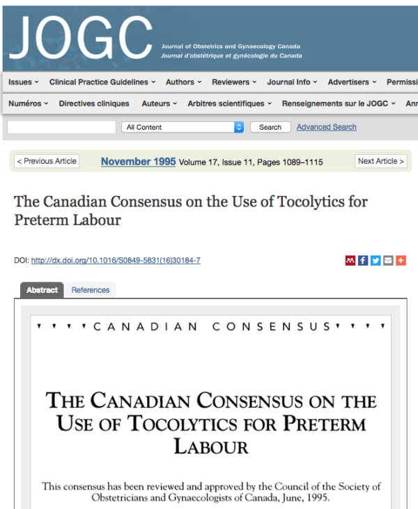 Canadian Consensus on use of Tocolytics for Preterm Labor