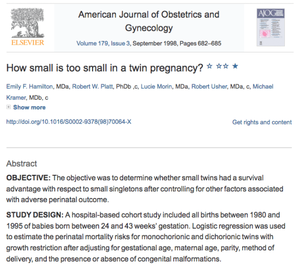 How small is too small in a twin pregnancy?