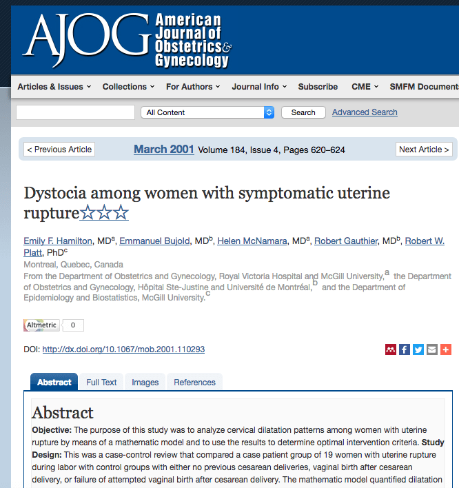 Dystocia among woment with symptomatic uterine rupture