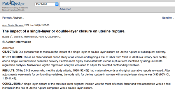 Impact of a single or double layer closure on uterine rupture