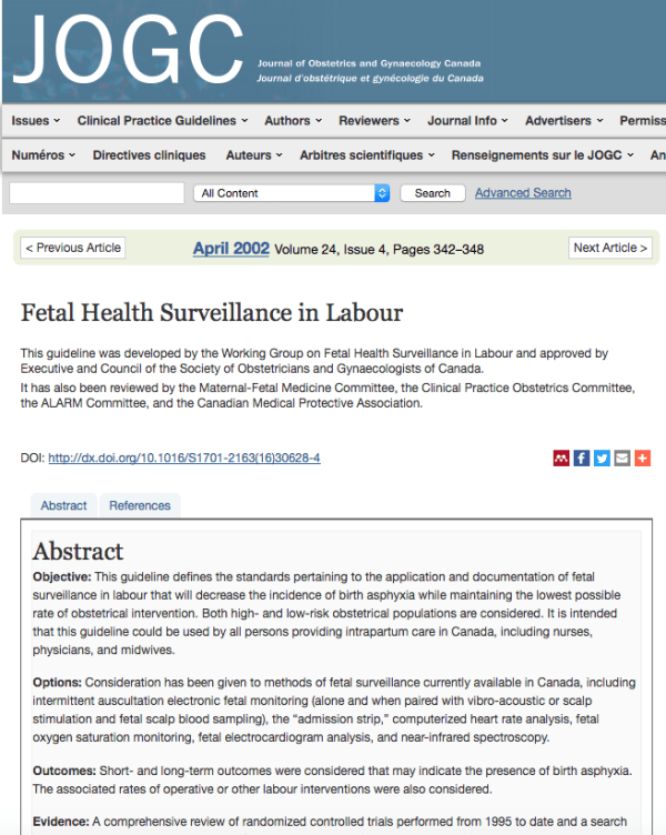 Fetal health surveillance in labor