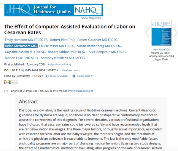 Effect of Computer-Assisted Evaluation of Labor on Cesarean Rates