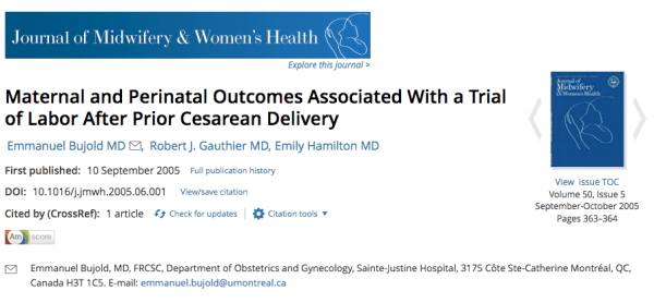 Maternal and perinatal outcomes associated with a trial of labor after prior cesarean delivery