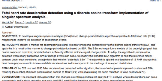 Fetal heart rate deceleration detection using a discrete cosine transform implementation of singular spectrum analysis