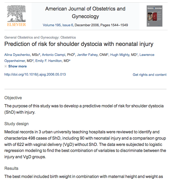 Prediction of risk for shoulder dystocia with neonatal injury