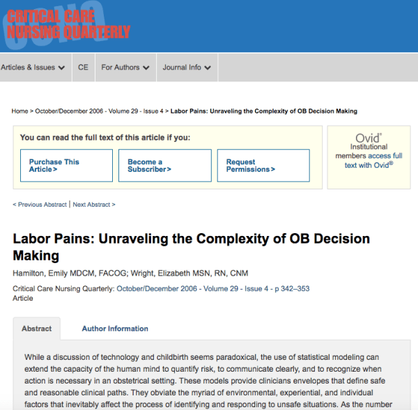 Labor pains unraveling the complexity of OB decision making
