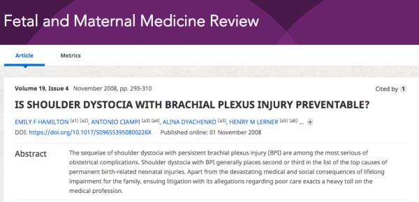 Is shoulder dystocia with brachial plexus preventable?