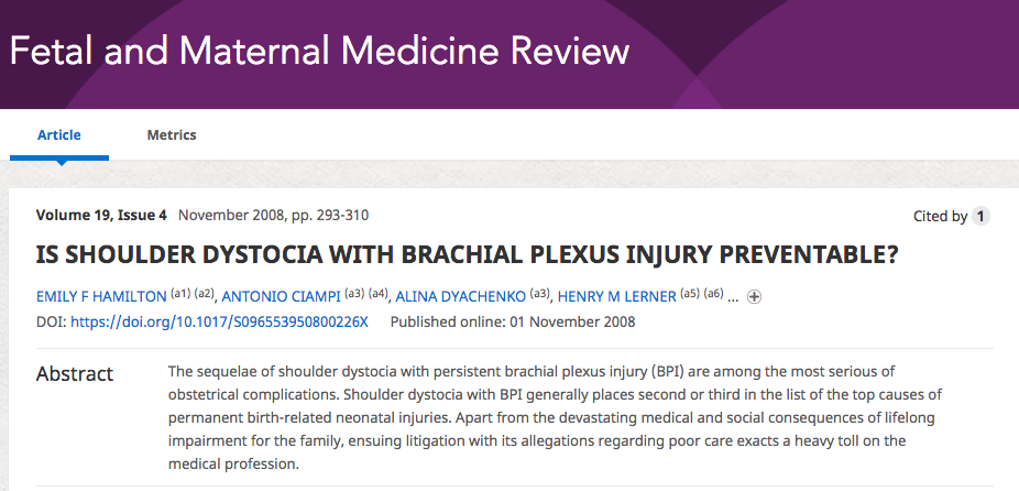 Is shoulder dystocia with brachial plexus preventable?