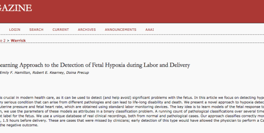 A machine learning approach to the detection of fetal hypoxa during labor and delivery