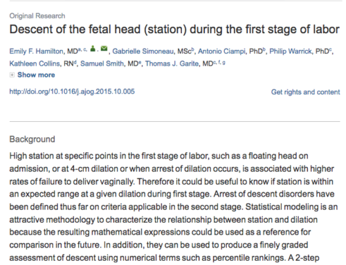Descent of the fetal head (station) during the first stage of labor