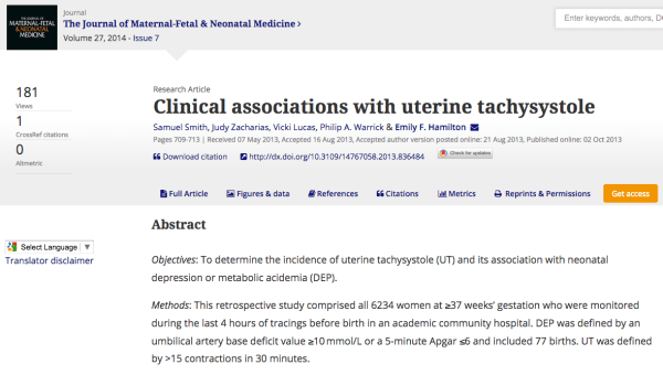Clinical associations with uterine tachysystole
