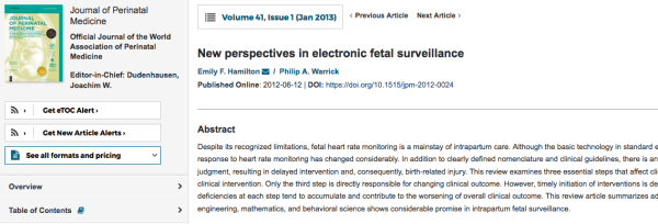 New perspectives in electronic fetal surveillance