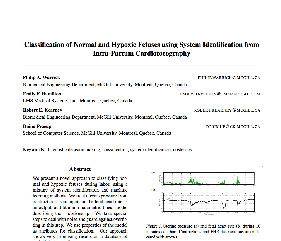 Classiication of Normal and Hypoxic Fetuses using System Identification from Intrapartum Cardiotocography
