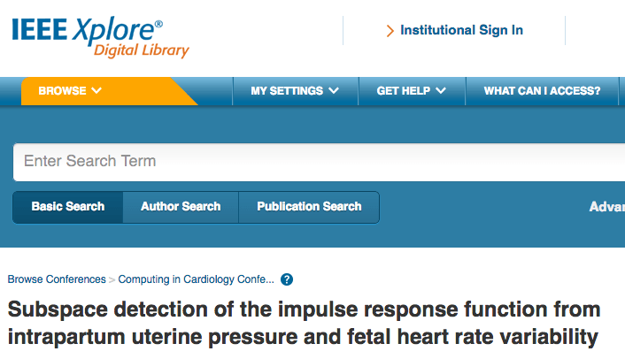 Subspace detection of the impulse response function from intrapartum uterine pressure and fetal heart rate variability