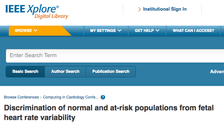 Discrimination of normal and at-risk populations from fetal heart rate variability