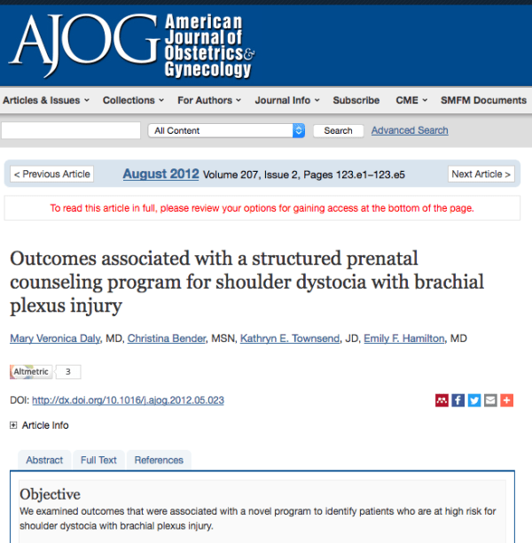 Outcomes associated with a structured prenatal counseling program for shoulder dystocia with brachial plexus injury