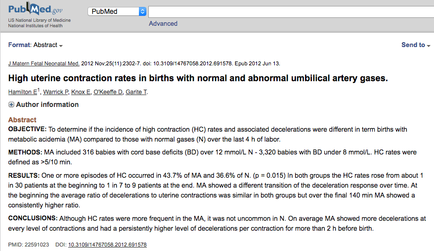 High uterine contraction rates in births with normal and abnormal umbilical artery gases