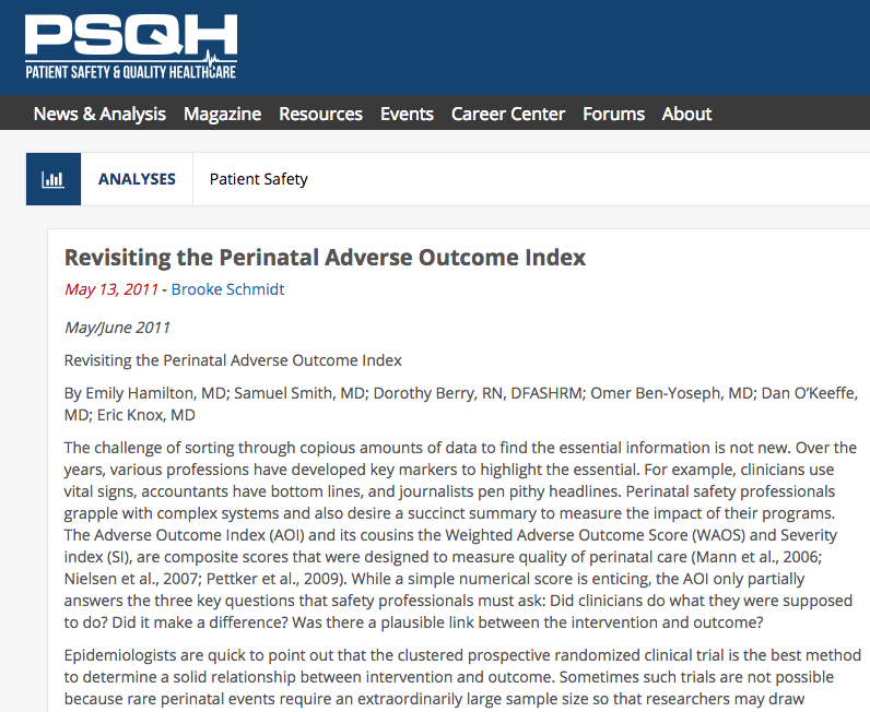 Revisiting the Perinatal Adverse Outcome Index