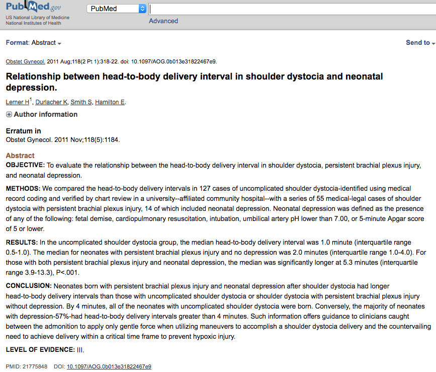 Relationship between head-to-toe delivery interval in shoulder dystocia and neonatal depression