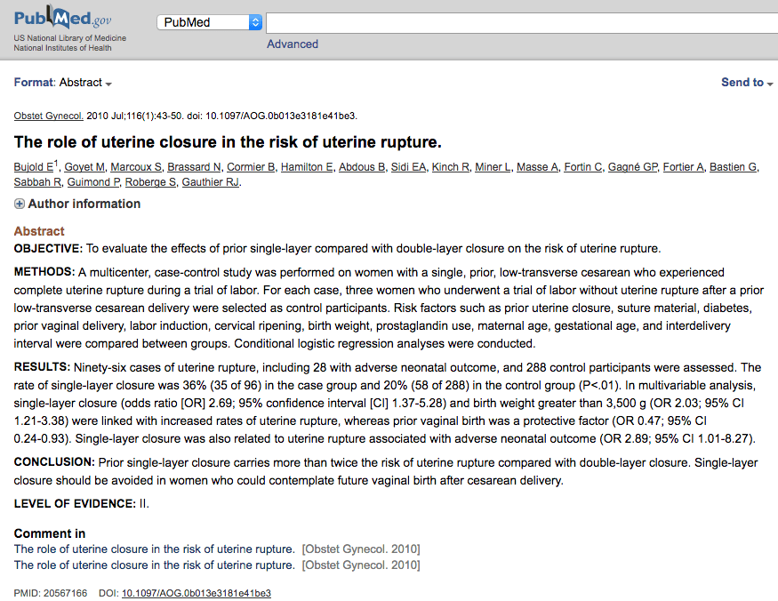 The role of uterine closure in the risk of uterine rupture