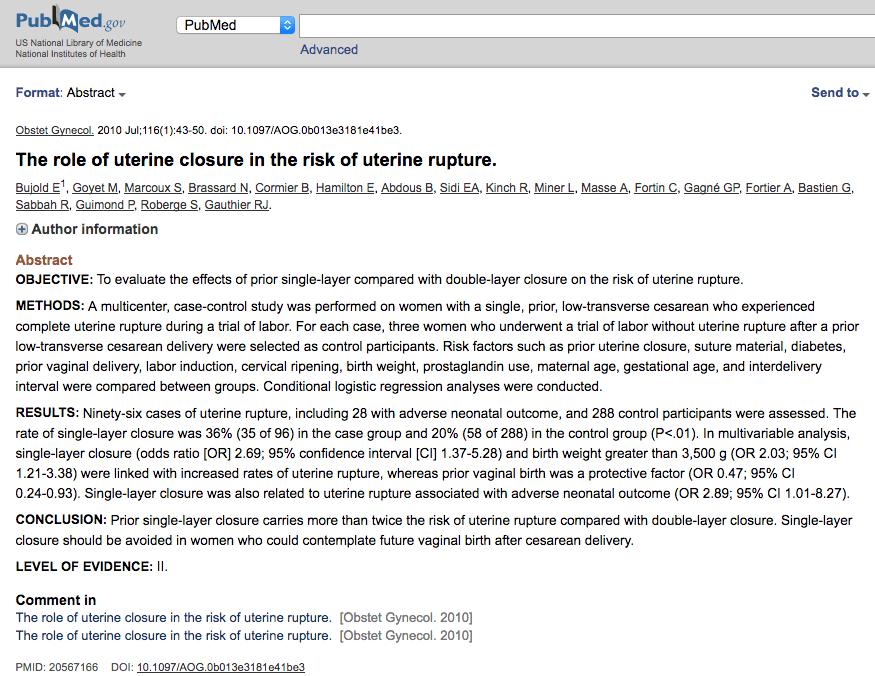 The role of uterine closure in the risk of uterine rupture