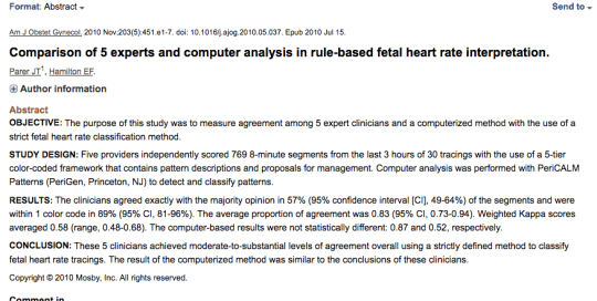 Comparison of 5 experts and computer analysis in rule-based fetal heart rate interpretation