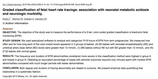 Graded classification of fetal heart rate tracings: association with neonatal metabolic acidosis and neurologic morbidity