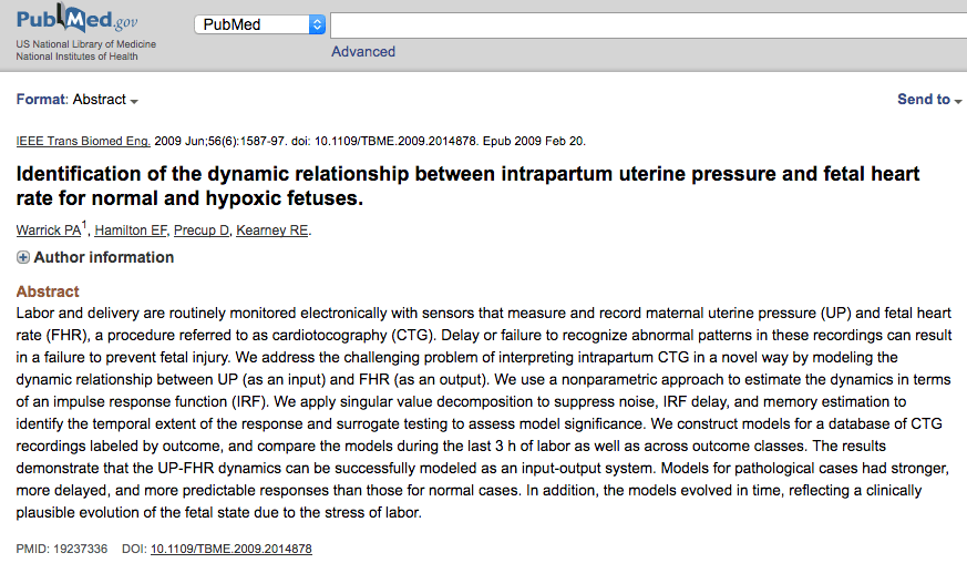 Identification of the dynamic relationship between intrapartum uterine pressure and fetal heart rate for normal and hypoxic fetuses