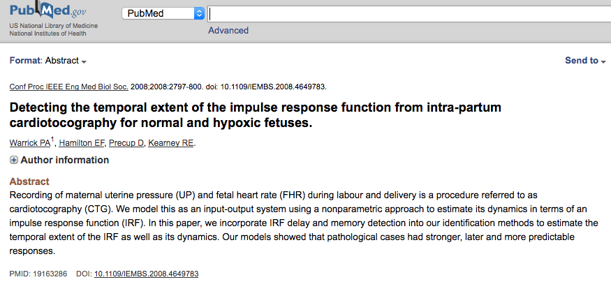 Detecting the temporal extent of the impulse response function from intra-partum cardiotocography for normal and hypoxic fetuses